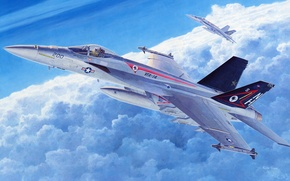 """Picture the sky, clouds, figure, aircraft, F/A-18, fighter-bombers, US NAVY, deck, """"Hornet"""""""