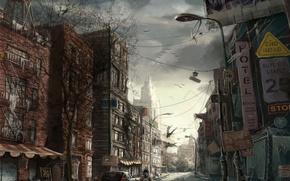 Wallpaper road, the city, figure