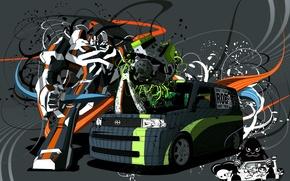 Wallpaper auto, van, vector, Robot, Transformers