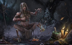 Picture magic, candles, skull, witchcraft, the fire, the witch, the voodoo doll, shaman, Alexander Kozachenko