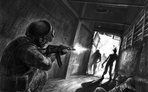 Picture corridor, soldiers, machine, zombies, helmet, Kalashnikov, special forces, the Department, terrorism, against
