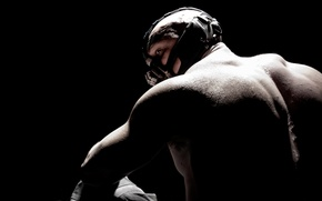 Picture mask, black background, the dark knight, tom hardy, Tom hardy, Bane, the legend, bane, the …