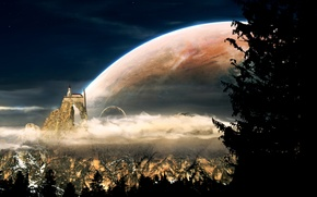 Picture clouds, trees, mountains, birds, castle, the moon, planet, satellite, Church