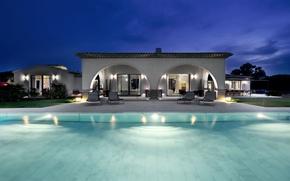 Picture Villa, the evening, pool, luxury villa, st-tropezs