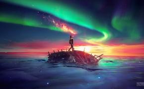 Picture green, world, light, fire, ice, black, sky, sunset, blue, water, glow, desktopography, stars, alone, sunrise, …