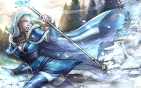 Picture girl, snow, art, Crystal Maiden, Dota 2, Rylai