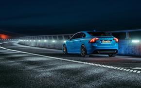 Picture asphalt, blue, lights, sport, sedan, s60, volvo, Volvo, back, feed, polestar, C60