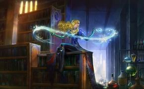 Wallpaper ice, girl, magic, figure, books, fantasy, art, blonde, girl, ice, library, fantasy, magic, art, shelves, ...
