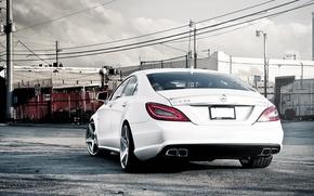 Wallpaper white, Mercedes-Benz, white, AMG, the rear part, Mercedes Benz, CLS-class, C218, CLS 63