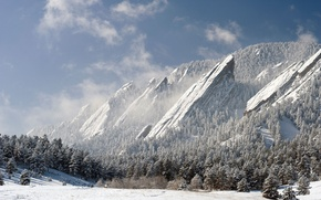 Picture winter, forest, snow, mountains, rocks