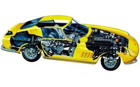 Picture yellow, engine, details, Ferrari 275 GTB