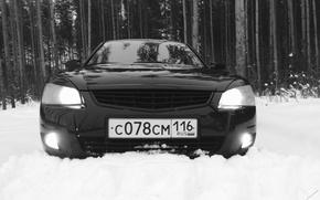 Picture forest, snow, black, sedan, prior, priora