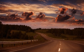 Picture road, forest, the sky, horizon, country