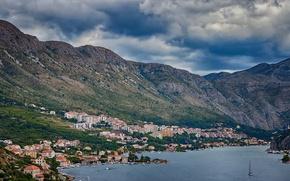 Picture sea, mountains, village, boat, bay, Croatia, Ragusa