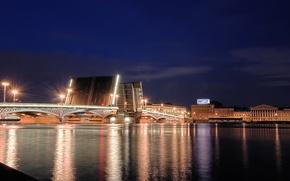 Picture night, Peter, Saint Petersburg, Russia, Russia, bridge, night, The Palace bridge, Neva river, Neva river, …