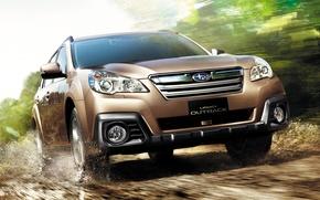 Picture Road, Subaru, Machine, Movement, Car, Car, Brown, Cars, Subaru, Legacy, Road, Brown, Outback, The Outback, ...
