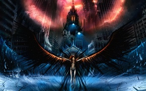 Picture the city, dark, wings, angel, The darkness