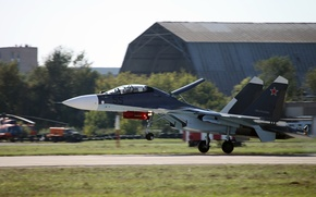 Picture landing, the airfield, Sukhoi, Flanker-C, The Russian air force, Su-30CM, Russian double multipurpose fighter of …