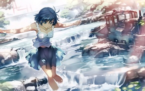 Picture water, girl, rays, trees, nature, train, anime, art, vania600