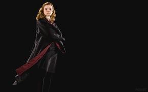 Picture girl, actress, beauty, Emma Watson, Emma Watson, black background, Hermione Granger, Hermione Granger