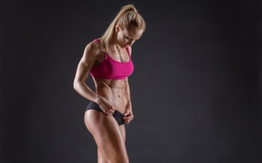 Wallpaper model, blonde, pose, fitness, abs, sportswear, toned body, healthy food, healthy living, sculpted, Bodybuilder, vitamin ...