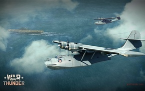 Picture the sky, the ocean, boat, the carrier, bomber, American, War Thunder, patrol, flying, Consolidated, Catalina, …