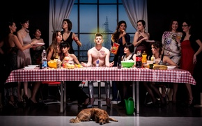 Picture girls, dog, humor, guy, feast