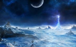 Wallpaper cold, light, snow, trees, rocks, planet, mountain, ray, art, peak