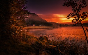 Picture sunset, fog, river, shore, Norway, Rogaland, Rogaland