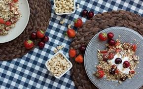 Picture strawberry, nuts, cherry, breakfast, muesli, yogurt, muesli