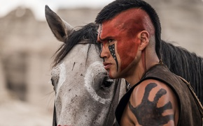 Picture wallpaper, man, leather, animal, horse, indian, warrior, mane, war paint, riding, saddle, equine, native american, …