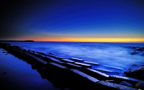 Picture sea, the sky, sunset, stones, blocks, twilight