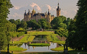 Picture flowers, Park, nature, garden, day, trees, Germany, architecture, castle, Schwerin, the sky, clouds