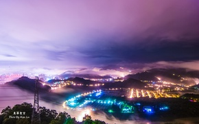 Picture lights, fog, the evening, China, Taiwan, twilight