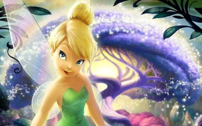 Picture forest, tree, magic, cartoon, wings, stars, Fairies, fairy, sparks, blonde, magic, tree, movie, Bell, Walt …