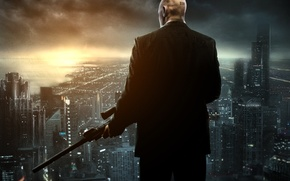 Picture the city, weapons, home, barcode, bald, jacket, megapolis, sniper rifle, Agent 47, Hitman Absolution, forty-seventh, …