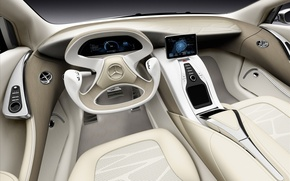 Picture car, Mercedes-Benz, concept, Mercedes, white, art, background, inside, supercars