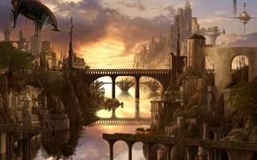 Wallpaper bridge, art, waterfall, the city, ucchiey, if kazama uchio, airships, river