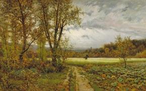 Picture field, autumn, the sky, trees, landscape, picture, Joaquim Vayreda, SCARECROW