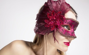 Picture red, woman, feathers, mask