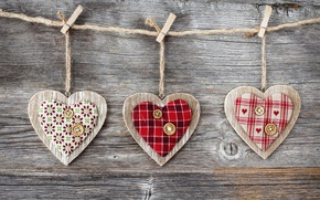 Picture tree, heart, rope, hearts, fabric, buttons, clothespins