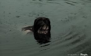 Picture water, girl, rain, beast