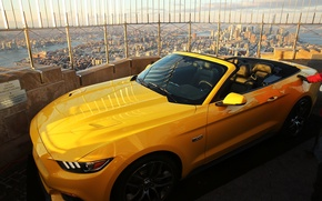 Picture Sunset, Mustang, Ford, The sky, Clouds, The city, View, Convertible, Roof, Yellow, New York, Yellow, ...