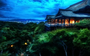 Picture clouds, trees, house, Japan, Kyoto