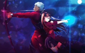 Picture the sky, girl, clouds, night, weapons, magic, the moon, anime, bow, art, arrows, rin tohsaka, …
