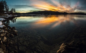 Picture the sky, clouds, trees, sunset, lake, stones