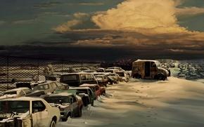 Picture snow, figure, Clouds, dump