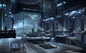 Picture metal, plant, people, art, hangar, the room, equipment, Halo 4