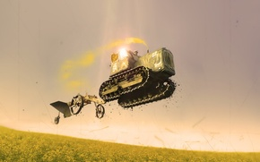Wallpaper style, technique, flying tractor