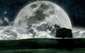 Picture space, the moon, stars, full moon, big moon, bright moon